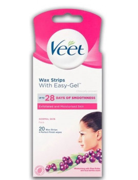 Veet Wax Strips with easy gel for face Normal Skin