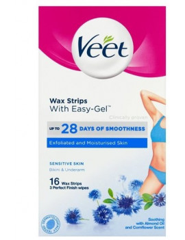Veet Wax Strips With Easy-Gel For Bikini & Underarm